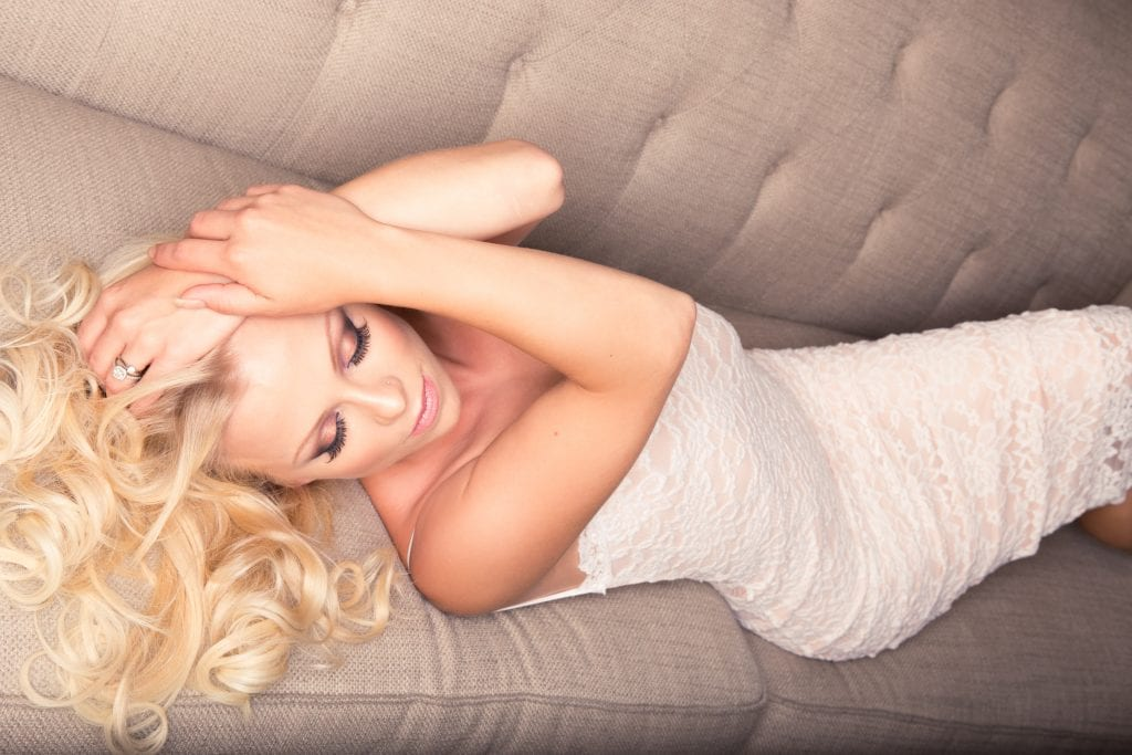 Ms. D is in our boudoir studio for her wedding day in Calgary