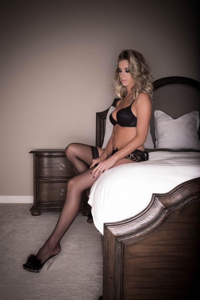 Ms. F in our luxury boudoir studio in Calgary